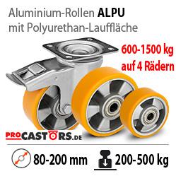 Schwerlastrollen Aluminium Polyurethan Lenkrollen mit bremse